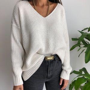 ANA oversized ribbed knit ivory sweater 2X